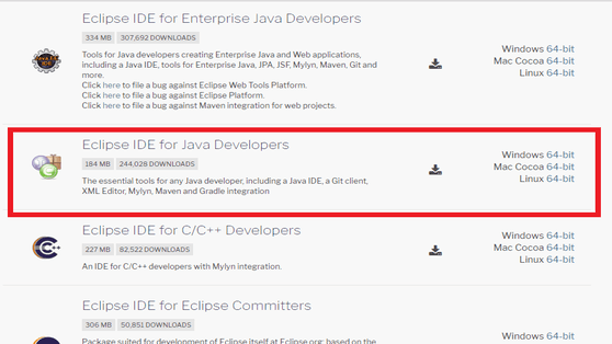 find a Java download button