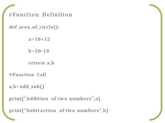 multiple return value with function definition
