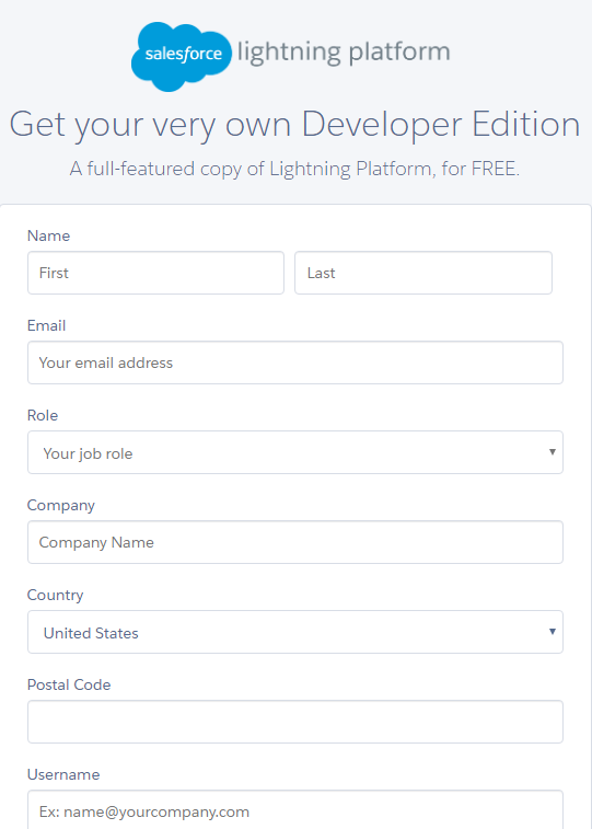 Slaesforce Developer Account Application Form
