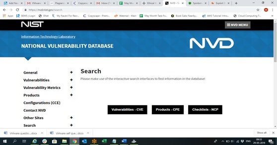 National Vulnerabilities Data Base