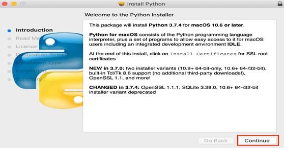 Python 3.7.4 for Mac OS