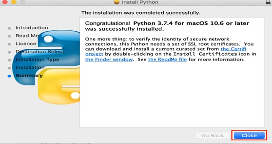 Python Installed Sucessful