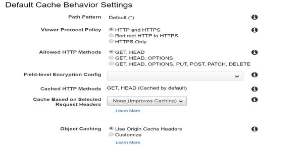 Default cache behavior settings